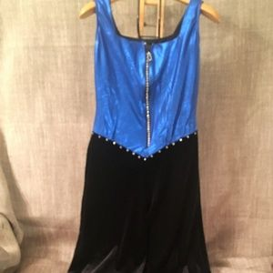 rivars Other - Dancewear Jumpsuit Blue/Black velvet Rhinestones